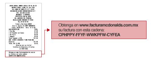 Ticket  McDonalds México para Facturación Electrónica